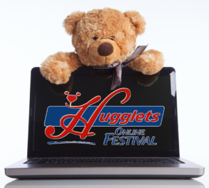 Hugglets Logo on a laptop monitor